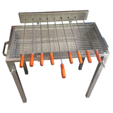 Stainless Steel Rotisserie skewer charcoal BBQ  with grill and 2 kgs rotisserie motor