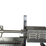Stainless Steel Charcoal Rotisserie BBQ (1.3mtr) - BIG SPIT with LID- 40kgs Meat Capacity Motor!! - SSB-3060WL