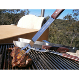 Man Law BBQ Tool Set Wood Handle 3 pc Barbecue Tong, Fork and Spatula