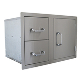 BeefEater Stainless Steel Single Storage Door with 2 Drawers - BS24230