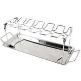 Man Law BBQ Chicken rack holds 10 wings - legs - thighs - stainless steel with tray - MAN-V10