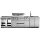 Gasmate Galaxy Stainless Steel 6 Burner NG BBQ  2 Door Fridge w/ 2 Door Fridge Top and Sink Kitchen Package