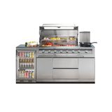 Gasmate Galaxy Stainless Steel 6 Burner NG BBQ w/ 1 Door Bar Fridge 118L & Fridge Top Kitchen Package