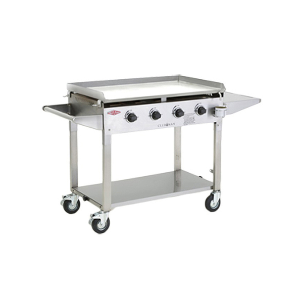BeefEater Clubman Stainless Steel 4 Burner Barbeque, 5mm BBQ Plate, Quartz Ignition, Folding Legs With Wheels, Includes Lid - BD16440